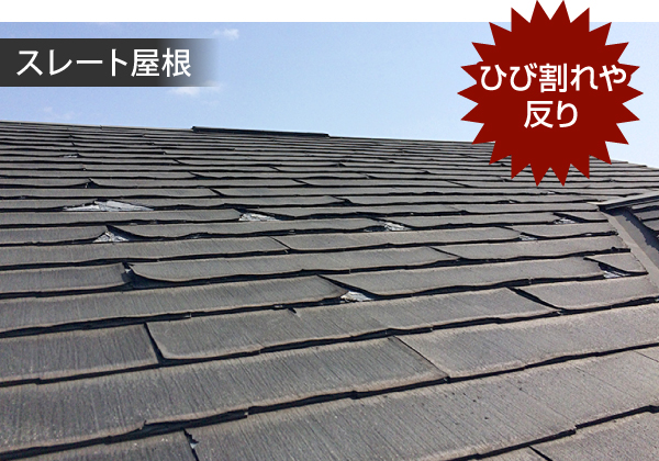 スレート屋根のひび割れや反り