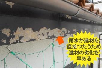 雨水が建材を直接つたい建材の劣化を早める