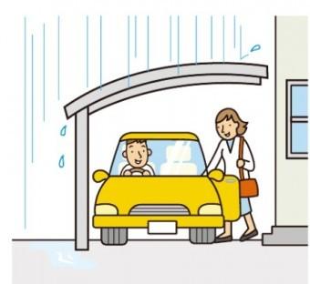 雨に濡れずに乗り降りできる