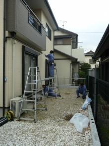 施工途中 垂木掛け 出幅測り